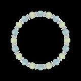 縁(6mm)人間関係を円滑にするシーブルーカルセドニー・プレナイト・水晶(クォーツ)ブレスレット