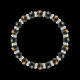 縁(6mm)コントロール力を育むタイガーアイ・オブシディアン・水晶(クォーツ)ブレスレット