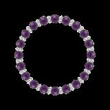 縁(6mm)紫色アメジスト・水晶(クォーツ)ブレスレット