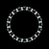 縁(6mm)漆黒色ブラックトルマリン・水晶(クォーツ)ブレスレット