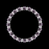 縁(6mm)京紫色チャロアイト・水晶(クォーツ)ブレスレット