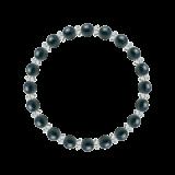 縁(6mm)青藍色クリソコラ・水晶(クォーツ)ブレスレット