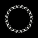 縁(6mm)黒色オニキス・水晶(クォーツ)ブレスレット
