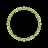 縁(6mm)萌黄色ペリドット・水晶(クォーツ)ブレスレット