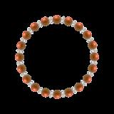 縁(6mm)弁柄色レッドジャスパー・水晶(クォーツ)ブレスレット
