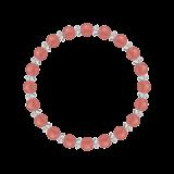 縁(6mm)薔薇色インカローズ・水晶(クォーツ)ブレスレット
