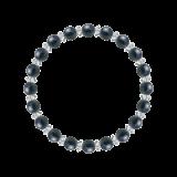 縁(6mm)紺青色サファイア・水晶(クォーツ)ブレスレット