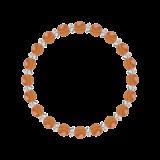 縁(6mm)橙色サードオニキス・水晶(クォーツ)ブレスレット