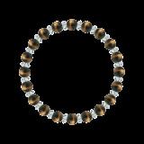 縁(6mm)金茶色タイガーアイ・水晶(クォーツ)ブレスレット
