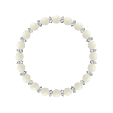 縁(6mm)生成り色ホワイトコーラル・水晶(クォーツ)ブレスレット