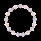 縁(8mm)深い愛情をもたらすラベンダーアメジスト・モルガナイト・水晶(クォーツ)ブレスレット