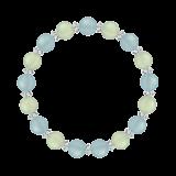 縁(8mm)人間関係を円滑にするシーブルーカルセドニー・プレナイト・水晶(クォーツ)ブレスレット
