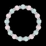 縁(8mm)幸福と豊かさを授けるブルートパーズ・クンツァイト・水晶(クォーツ)ブレスレット