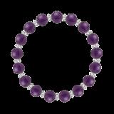 縁(8mm)紫色アメジスト・水晶(クォーツ)ブレスレット