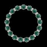 縁(8mm)緑青色アズロマラカイト・水晶(クォーツ)ブレスレット