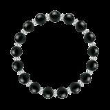 縁(8mm)漆黒色ブラックトルマリン・水晶(クォーツ)ブレスレット