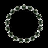 縁(8mm)千歳緑色ブラッドストーン・水晶(クォーツ)ブレスレット