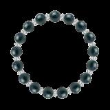 縁(8mm)青藍色クリソコラ・水晶(クォーツ)ブレスレット