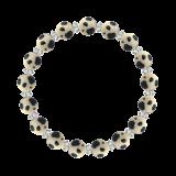 縁(8mm)砂色ダルメシアンジャスパー・水晶(クォーツ)ブレスレット