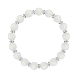 縁(8mm)白色フロスティクォーツブレスレット