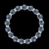 縁(8mm)群青色カイヤナイト・水晶(クォーツ)ブレスレット
