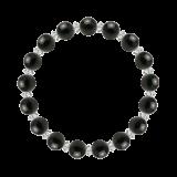 縁(8mm)黒色オニキス・水晶(クォーツ)ブレスレット