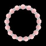 縁(8mm)鴇色ピンクオパール・水晶(クォーツ)ブレスレット