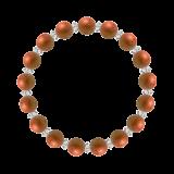 縁(8mm)弁柄色レッドジャスパー・水晶(クォーツ)ブレスレット