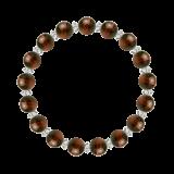 縁(8mm)赤銅色レッドタイガーアイ・水晶(クォーツ)ブレスレット