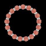 縁(8mm)薔薇色インカローズ・水晶(クォーツ)ブレスレット