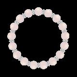 縁(8mm)桃色ローズクォーツ・水晶(クォーツ)ブレスレット