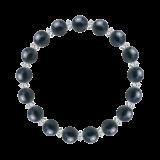 縁(8mm)紺青色サファイア・水晶(クォーツ)ブレスレット