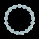 縁(8mm)白群色シーブルーカルセドニー・水晶(クォーツ)ブレスレット