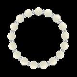 縁(8mm)生成り色ホワイトコーラル・水晶(クォーツ)ブレスレット