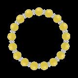 縁(8mm)黄色イエローメノウ・水晶(クォーツ)ブレスレット