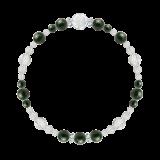 花かずら(6mm)千歳緑色ブラッドストーン・水晶(クォーツ)ブレスレット
