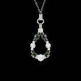 花かずら(6mm)千歳緑色ブラッドストーン・水晶(クォーツ)ストラップ