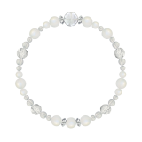 花かずら(6mm)月白色ブルームーンストーン・水晶(クォーツ)ブレスレット