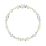 花かずら(6mm)生成り色ホワイトコーラル・水晶(クォーツ)ブレスレット