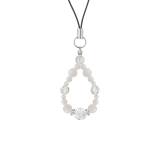 花かずら(6mm)練色ホワイトオパール・水晶(クォーツ)ストラップ