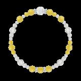 花かずら(6mm)黄色イエローメノウ・水晶(クォーツ)ブレスレット