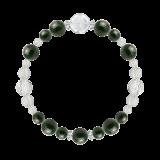 花かずら(8mm)千歳緑色ブラッドストーン・水晶(クォーツ)ブレスレット