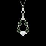 花かずら(8mm)千歳緑色ブラッドストーン・水晶(クォーツ)ストラップ