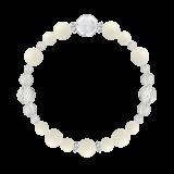 花かずら(8mm)生成り色ホワイトコーラル・水晶(クォーツ)ブレスレット