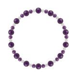 鳳凰(6mm)紫色アメジスト・水晶(クォーツ)ブレスレット