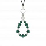 鳳凰(6mm)緑青色アズロマラカイト・水晶(クォーツ)ストラップ