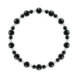 鳳凰(6mm)漆黒色ブラックトルマリン・水晶(クォーツ)ブレスレット