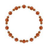 鳳凰(6mm)赤色レッドメノウ・水晶(クォーツ)ブレスレット