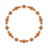 鳳凰(6mm)橙色サードオニキス・水晶(クォーツ)ブレスレット