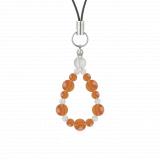 鳳凰(6mm)橙色サードオニキス・水晶(クォーツ)ストラップ